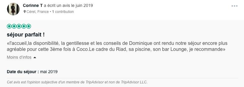 Avis client Coco Canel Marrakech, Tripadvisor